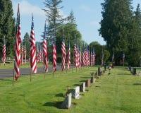 Υπόλοιπος κόσμος των τάφων με τις αμερικανικές σημαίες Στοκ εικόνα με δικαίωμα ελεύθερης χρήσης