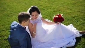 Υπόλοιπο στο λιβάδι newlyweds απόθεμα βίντεο