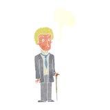 δυστυχισμένος κύριος κινούμενων σχεδίων με τη λεκτική φυσαλίδα Στοκ Εικόνα