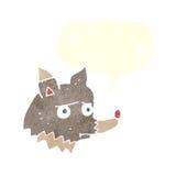 δυστυχισμένος λύκος κινούμενων σχεδίων με τη λεκτική φυσαλίδα Στοκ Φωτογραφία
