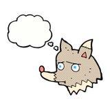 δυστυχισμένος λύκος κινούμενων σχεδίων με τη σκεπτόμενη φυσαλίδα Στοκ φωτογραφία με δικαίωμα ελεύθερης χρήσης
