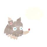 δυστυχισμένος λύκος κινούμενων σχεδίων με τη σκεπτόμενη φυσαλίδα Στοκ Εικόνες