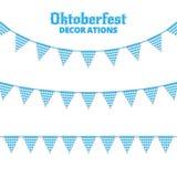Υφάσματα Oktoberfest Διακοσμήσεις για τα υφάσματα γιρλαντών Oktoberfest της βαυαρικής ελεγμένης μπλε σημαίας Στοκ Εικόνες