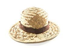 Υφαμένο άχυρο καπέλο με την καφετιά ζώνη Στοκ εικόνα με δικαίωμα ελεύθερης χρήσης
