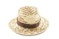 Υφαμένο άχυρο καπέλο με την καφετιά ζώνη Στοκ Εικόνες
