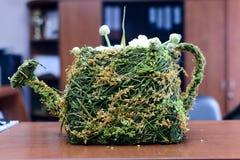 Υφαμένο από την ξηρά χλόη flowerpot με μορφή ενός ποτίσματος μπορεί Στοκ εικόνες με δικαίωμα ελεύθερης χρήσης