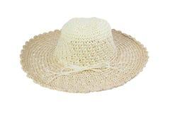 Υφαμένο μπεζ καπέλο που διακοσμείται με το σχοινί Στοκ εικόνα με δικαίωμα ελεύθερης χρήσης