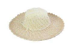 Υφαμένο μπεζ καπέλο που διακοσμείται με το σχοινί Στοκ Εικόνες