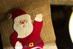 Υφαντικά Χριστούγεννα Άγιος Βασίλης sackcloth Στοκ εικόνες με δικαίωμα ελεύθερης χρήσης