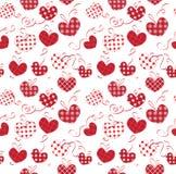 Υφαντικές καρδιές με τα τόξα άσπρα υπόβαθρα άνευ ραφής Στοκ εικόνες με δικαίωμα ελεύθερης χρήσης