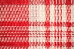 Υφαντική επιφάνεια Κόκκινη και άσπρη σύσταση υφασμάτων Στοκ Εικόνα