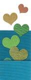 Υφαντικό έμβλημα καρδιών Στοκ Φωτογραφία