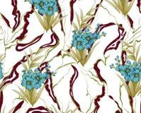 Υφαντικό σχέδιο τυπωμένων υλών με το λουλούδι Στοκ Εικόνες