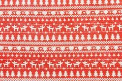 Υφαντικό υπόβαθρο Χριστουγέννων με το Σκανδιναβικό σχέδιο Στοκ Φωτογραφίες