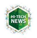 Υψηλής τεχνολογίας πράσινο hexagon κουμπί σχεδίων εγκαταστάσεων ειδήσεων floral ελεύθερη απεικόνιση δικαιώματος