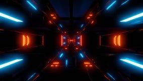 Υψηλή αντανακλαστική φουτουριστική σήραγγα scifi με τη σκοτεινή ατμόσφαιρα διανυσματική απεικόνιση