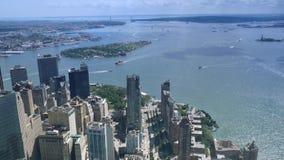 Υψηλού επιπέδου άποψη Timelapse του πάρκου μπαταριών και του νησιού κυβερνητών απόθεμα βίντεο