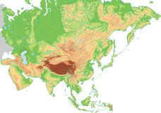 Υψηλός λεπτομερής φυσικός χάρτης της Ασίας ελεύθερη απεικόνιση δικαιώματος