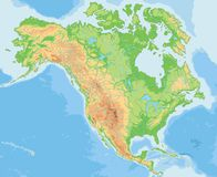 Υψηλός λεπτομερής φυσικός χάρτης της Βόρειας Αμερικής διανυσματική απεικόνιση
