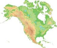 Υψηλός λεπτομερής φυσικός χάρτης της Βόρειας Αμερικής ελεύθερη απεικόνιση δικαιώματος