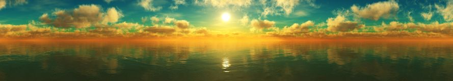 υψηλό ηλιοβασίλεμα θάλασσας διάλυσης jpg πανόραμα στοκ εικόνες με δικαίωμα ελεύθερης χρήσης