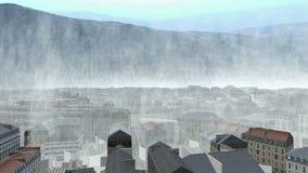Υψηλά κύματα πέρα από την τρισδιάστατη πόλη φιλμ μικρού μήκους