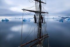 Υψηλά σε ένα tallship, sailboat στην Ανταρκτική Στοκ Φωτογραφία