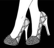 Υψηλή απεικόνιση παπουτσιών τακουνιών χεριών Στοκ φωτογραφίες με δικαίωμα ελεύθερης χρήσης