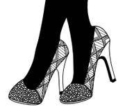 Υψηλή απεικόνιση παπουτσιών τακουνιών χεριών Στοκ Εικόνα