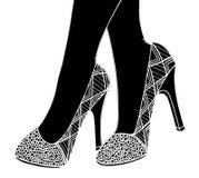 Υψηλή απεικόνιση παπουτσιών τακουνιών χεριών Στοκ Εικόνες