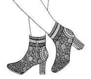 Υψηλή απεικόνιση παπουτσιών τακουνιών χεριών Στοκ φωτογραφία με δικαίωμα ελεύθερης χρήσης