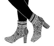 Υψηλή απεικόνιση παπουτσιών τακουνιών χεριών Στοκ Φωτογραφία