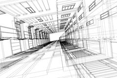 Υψηλή αφηρημένη, τρισδιάστατη απεικόνιση αρχιτεκτονικής δομών κτηρίου, σχέδιο αρχιτεκτονικής Στοκ Φωτογραφία