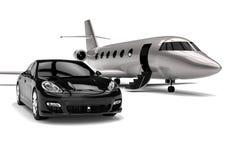 Υψηλή κατηγορία Limousine με το ιδιωτικό αεριωθούμενο αεροπλάνο διανυσματική απεικόνιση