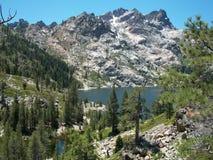 Υψηλή οροσειρά αλπικοί βράχοι πεύκων λιμνών στοκ εικόνα με δικαίωμα ελεύθερης χρήσης