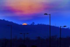 Υψηλή σκηνή ηλιοβασιλέματος τοπίων αντίθεσης Στοκ Φωτογραφίες