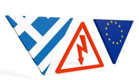 Υψηλή τάση μεταξύ της ευρωπαϊκής ένωσης της Ελλάδας και Στοκ Εικόνα