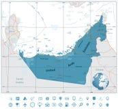 Υψηλός λεπτομερής οδικός χάρτης των Ηνωμένων Αραβικών Εμιράτων Στοκ Εικόνες