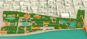 Υψηλός λεπτομερής χάρτης τριών διαστάσεων του πάρκου της Μόσχας Γκόρκυ και Στοκ Φωτογραφία