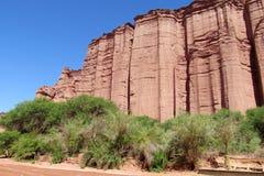 Υψηλός κόκκινος τοίχος βράχου στοκ φωτογραφίες