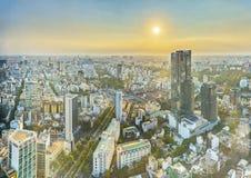 Υψηλός ορίζοντας Saigon άποψης όταν λάμπει ο ήλιος κάτω από αστικό Στοκ φωτογραφία με δικαίωμα ελεύθερης χρήσης