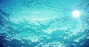 Υψηλός - ποιοτική ζωτικότητα των ωκεάνιων κυμάτων από υποβρύχιο με το επιπλέον πλαγκτόν Ελαφριές ακτίνες που λάμπουν κατευθείαν Μ απόθεμα βίντεο
