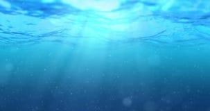 Υψηλός - ποιοτικός τέλεια άνευ ραφής βρόχος των βαθιών μπλε ωκεάνιων κυμάτων από το υποβρύχιο υπόβαθρο με τη ροή μορίων μικροϋπολ απεικόνιση αποθεμάτων