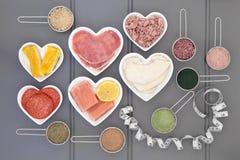 Υψηλός - πρωτεϊνικές σκόνες τροφίμων και συμπληρωμάτων Στοκ Εικόνα