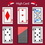 Υψηλός συνδυασμός πόκερ καρτών παίζοντας Απεικόνιση EPS 10 Σε μια κόκκινη ανασκόπηση Για να χρησιμοποιήσει για το σχέδιο, εγγραφή ελεύθερη απεικόνιση δικαιώματος