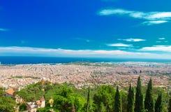 υψηλό καλοκαίρι της ποιοτικής Ισπανίας πανοράματος της Βαρκελώνης πολύ ευρέως Στοκ Φωτογραφία