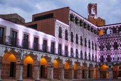 Υψηλό τετράγωνο Badajoz στο λυκόφως, Ισπανία Στοκ Εικόνα