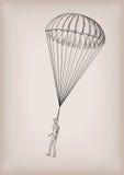 Υδατόπτωση αλεξίπτωτων brolly ή άγγελος φυλάκων με τη μύγα προσώπων ατόμων, ΛΦ απεικόνιση αποθεμάτων