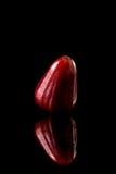 Υδατώδης αυξήθηκε μήλο σε ένα μαύρο αντανακλαστικό υπόβαθρο στοκ φωτογραφίες
