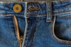 υλική σύσταση μερών τζιν παντελόνι Στοκ Εικόνες